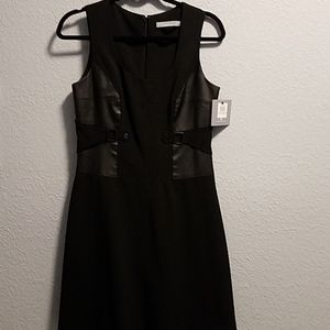 Black Dress with Waist Accent Buckle and Pleather